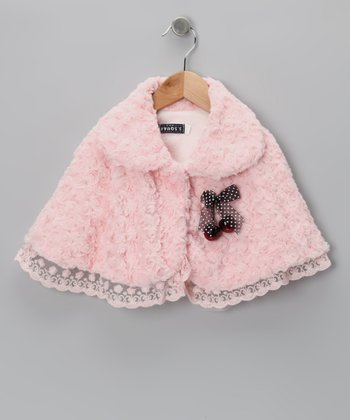 Pink Cherry Minky Swirl Cape - Toddler