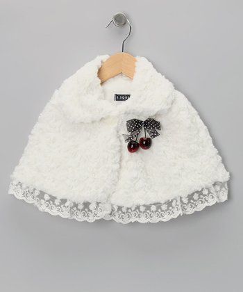 White Cherry Minky Swirl Cape - Toddler