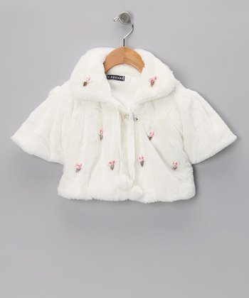 White Seashell Pom-Pom Minky Shrug - Infant