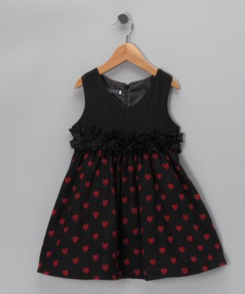 Black & Pink Heart Ruffle Dress - Girls