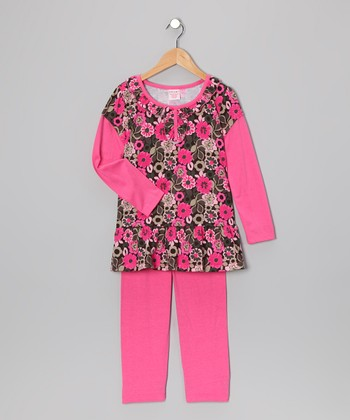 Pink Floral Layered Tunic & Leggings - Girls