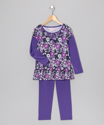 Purple Floral Layered Tunic & Leggings - Girls