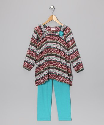 Blue Peasant Top & Leggings - Toddler