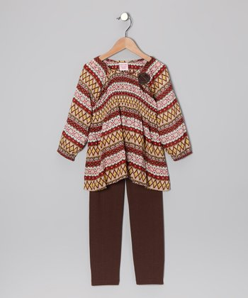 Brown Peasant Top & Leggings - Toddler