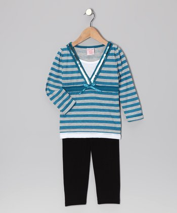 Blue Stripe Layered V-Neck Top & Leggings - Girls