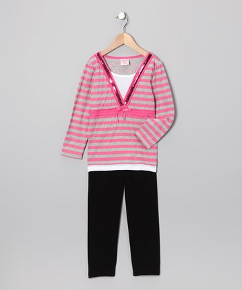 Pink Stripe Layered V-Neck Top & Leggings - Girls
