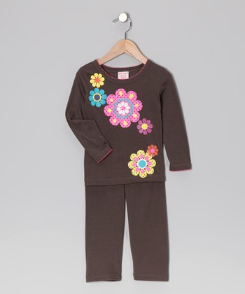 Brown Daisy Tee & Leggings - Toddler