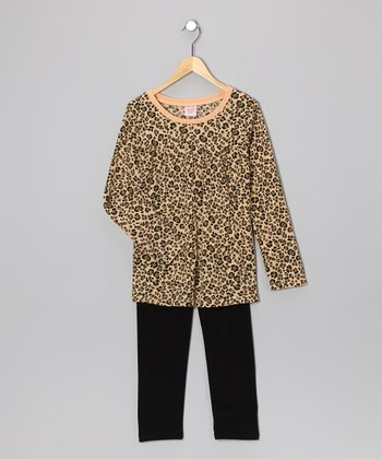 Brown Leopard Tunic & Leggings - Girls