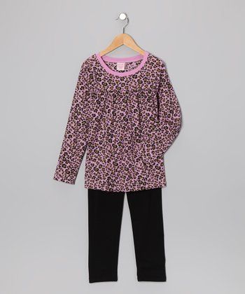 Pink Leopard Tunic & Leggings - Girls