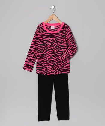 Pink Zebra Tunic & Leggings - Girls