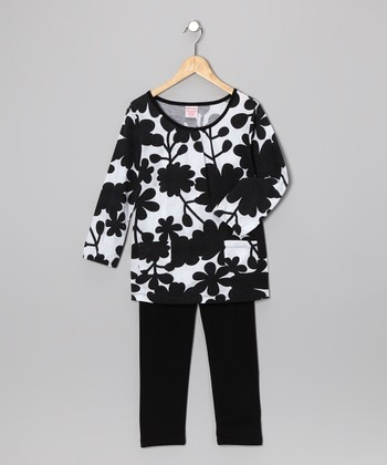 Black Floral Tunic & Leggings - Girls