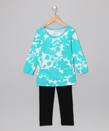Blue Floral Tunic & Leggings - Girls