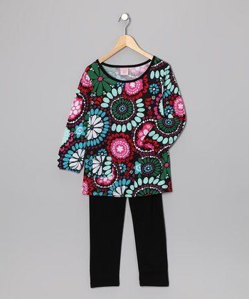 Brown Floral Tunic & Leggings - Girls