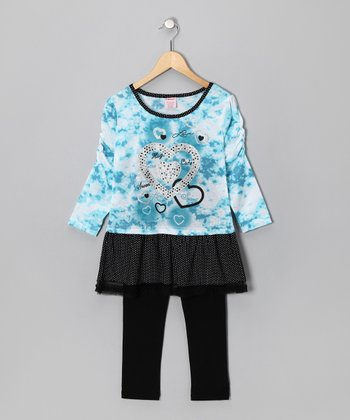 Blue Tie-Dye Heart Layered Tunic & Black Leggings - Girls