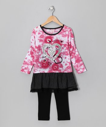 Pink Tie-Dye Heart Layered Tunic & Black Leggings - Girls