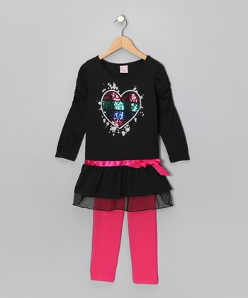 S.W.A.K. Black Sequin Heart Ruched Tunic & Leggings - Girls