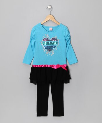 Blue Sequin Heart Ruched Tunic & Leggings - Girls