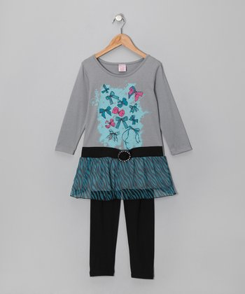 Gray Bow Belted Tunic & Black Leggings - Girls