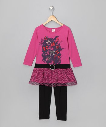 Pink Bow Belted Tunic & Black Leggings - Girls