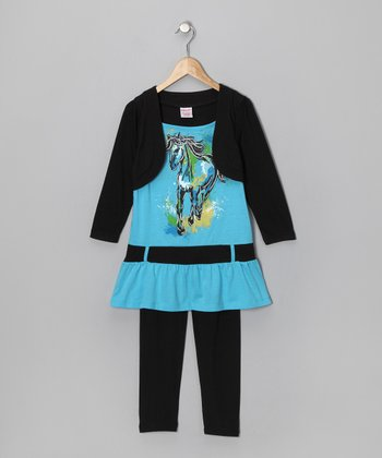 Blue Horse Layered Tunic & Black Leggings - Girls
