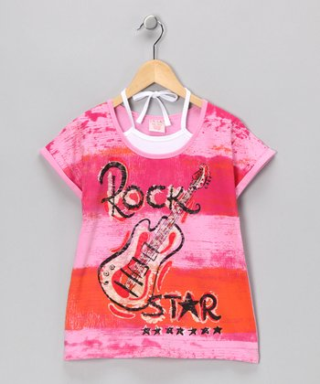 Fuchsia 'Rock Star' Layered Tee - Girls