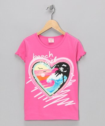 Fuchsia 'Beach' Heart Tee - Girls