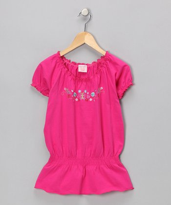 Bright Pink Embroidered Peasant Top - Girls