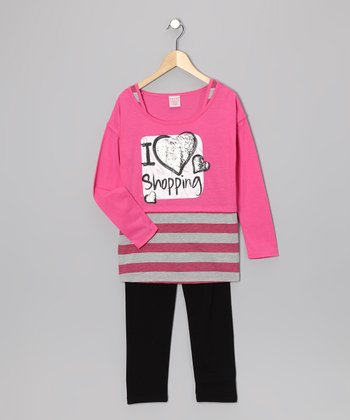 Pink 'Shopping' Layered Tunic & Leggings - Girls