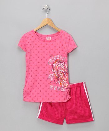 S.W.A.K. Pink 'Friends 4 Ever' Ruched Tee & Shorts - Girls