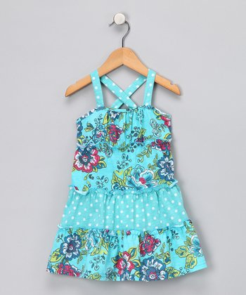 Turquoise Polka Dot & Floral Dress - Girls