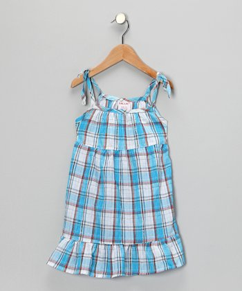 Blue Plaid Dress - Girls