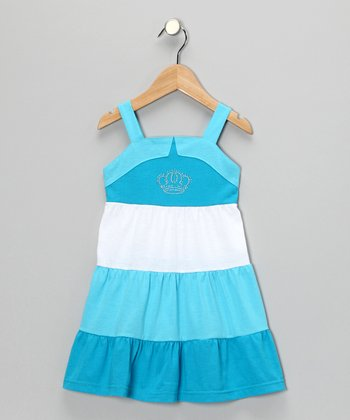 Blue Crown Tiered Dress - Girls
