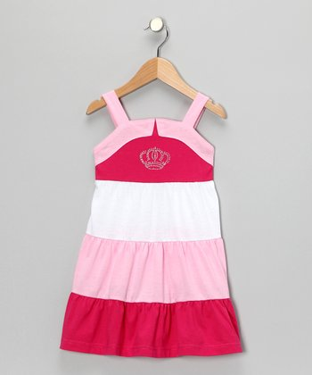 Pink Crown Tiered Dress - Girls