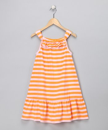 Orange Stripe Dress - Girls