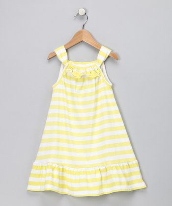 Yellow Stripe Dress - Girls