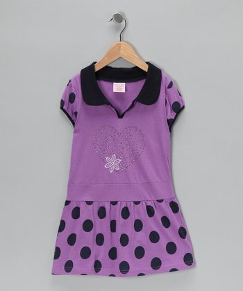 Lavender & Black Polka Dot Polo Dress - Girls