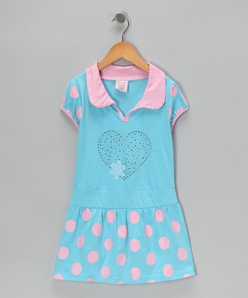 Turquoise & Pink Polka Dot Polo Dress - Girls