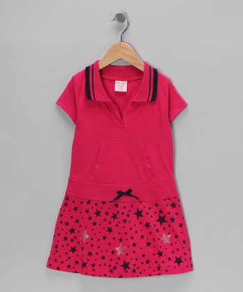 Fuchsia & Black Star Polo Dress - Girls
