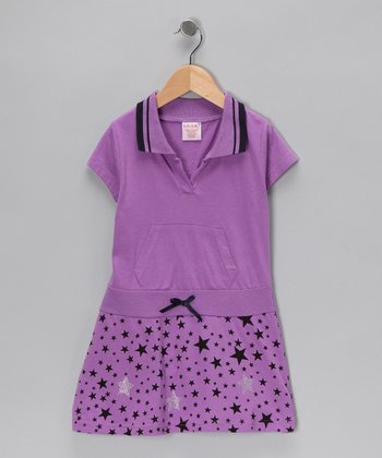 Purple & Black Star Polo Dress - Girls