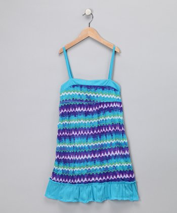 Blue Zigzag Ruffle Dress - Toddler & Girls