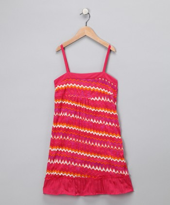 Red Zigzag Ruffle Dress - Toddler