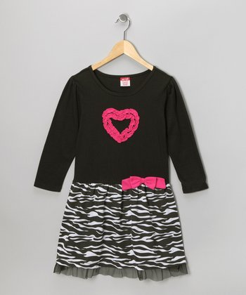 Black Zebra Heart Dress - Girls