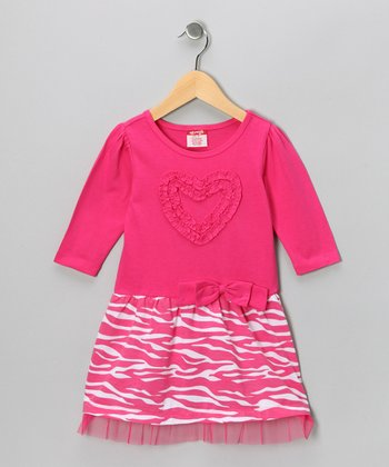 Pink Zebra Heart Dress - Girls