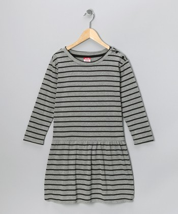 Gray Stripe Dress - Toddler & Girls