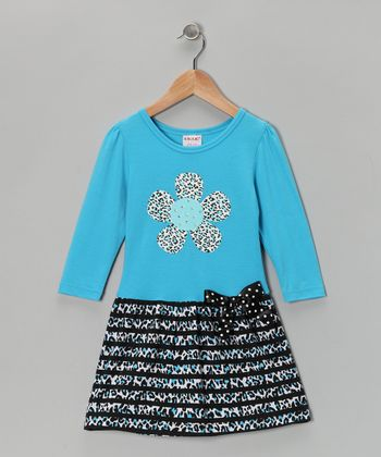 Blue Leopard Flower Dress - Girls