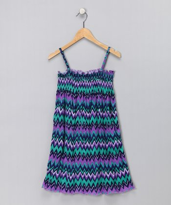 Purple & Green Stripe Dress - Toddler