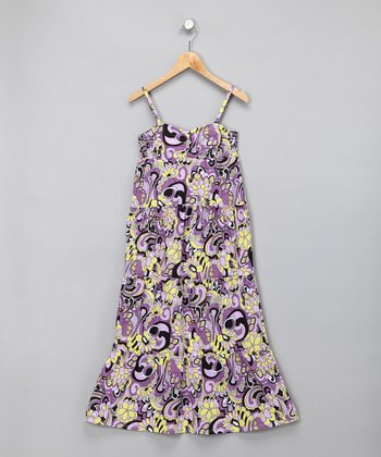 Purple Floral Maxi Dress - Girls