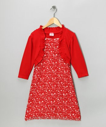 Red Polka Dot Layered Dress - Girls