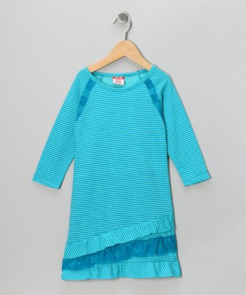 Blue Stripe Ruffle Dress - Girls