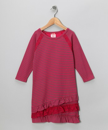 Red Stripe Ruffle Dress - Girls